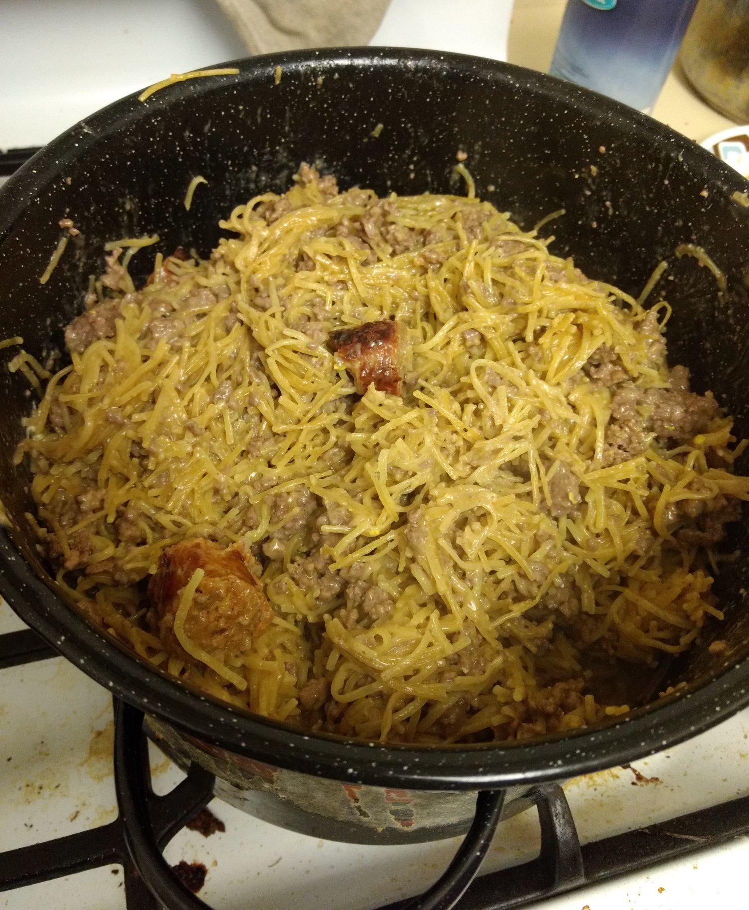 pot with noodles